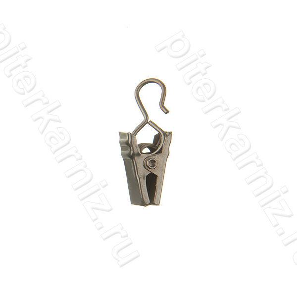 ЗАЖИМ ДЛЯ КОЛЕЦ универсальный металлический к карнизам 16,20,25 мм - ХРОМ МАТОВЫЙ