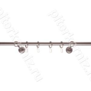 КАРНИЗ 16 мм в сборе, 1 ряд, гладкий, (без наконечников) - ХРОМ МАТОВЫЙ - 160 см
